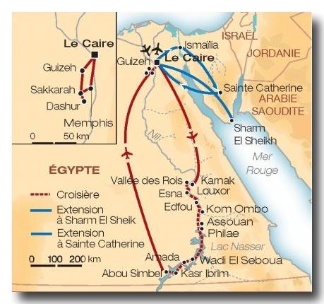 egypte croisiere sur le nil - carte