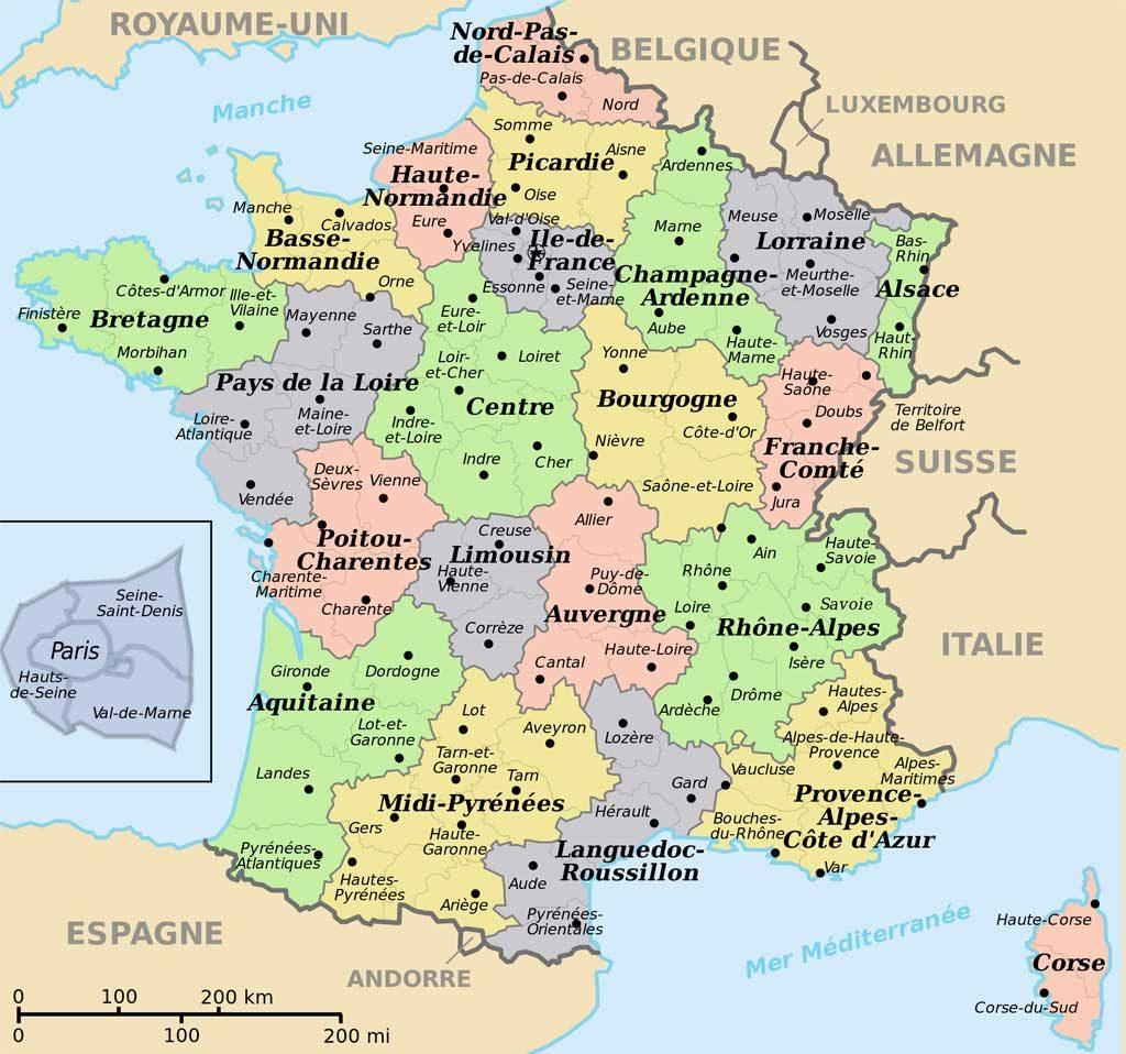 Carte de France - Départements - Régions