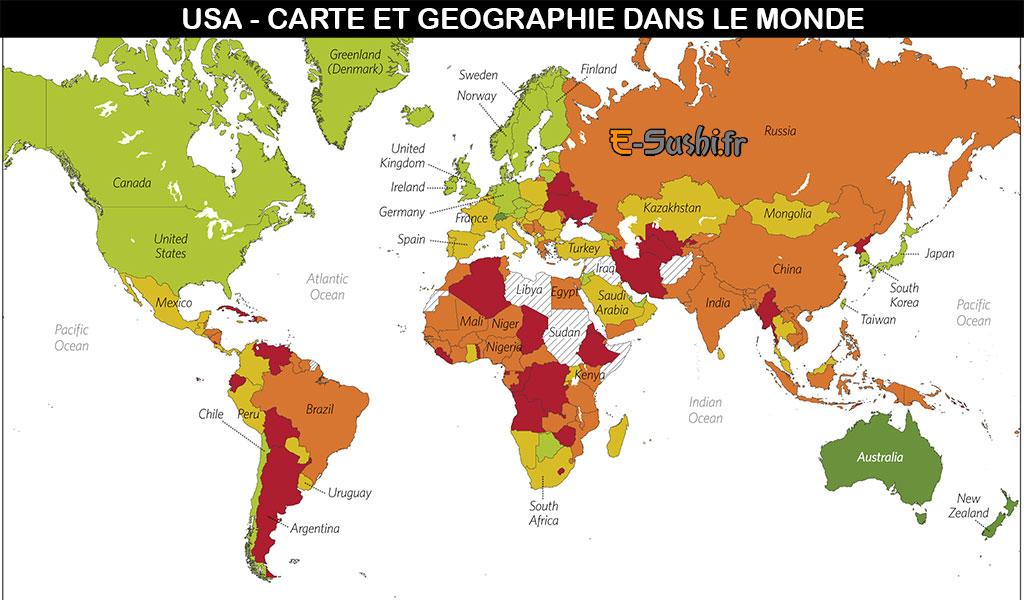 Carte géographique USA dans le monde