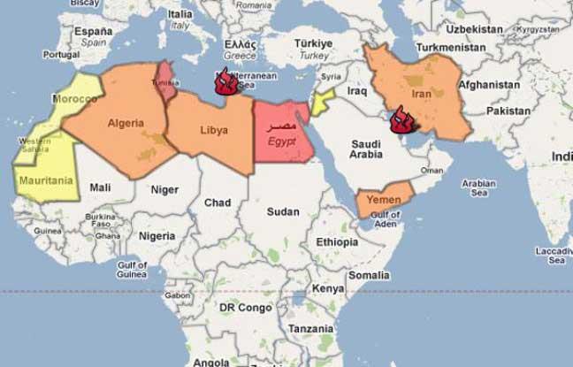 Tunisie - Carte du monde