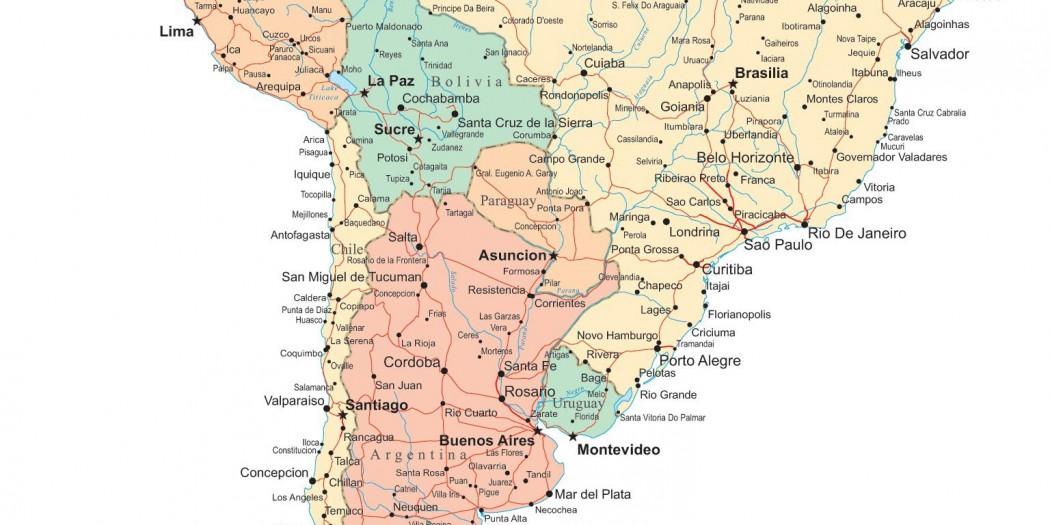 Carte Amérique du Sud
