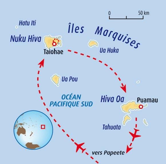 Carte des iles marquises