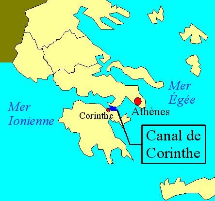 Carte du canal de Corinthe