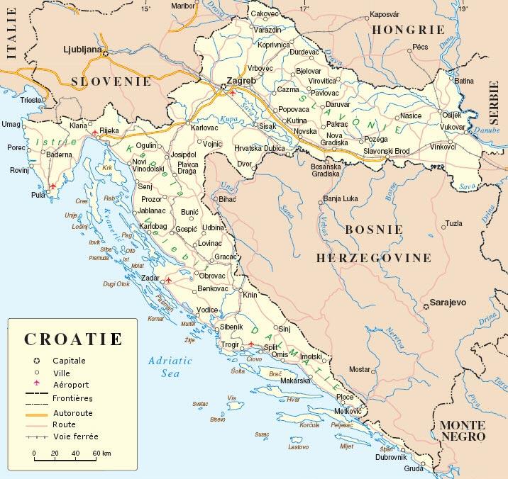 Carte Croatie - Générale