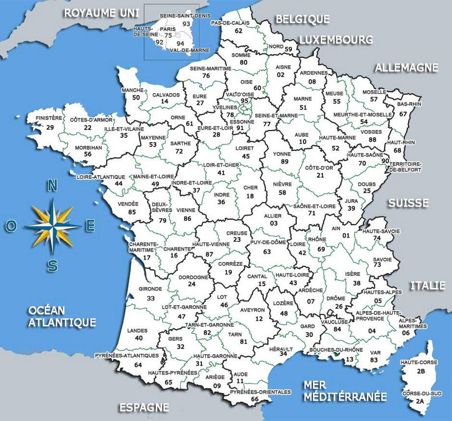 carte departements france 2016 - Image