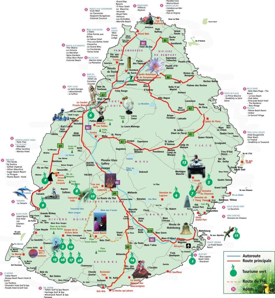 Ile Maurice- Carte touristique