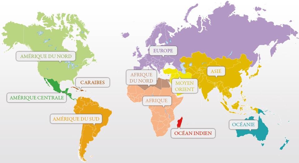 Carte géographique de l'Amerique du Nord dans le monde