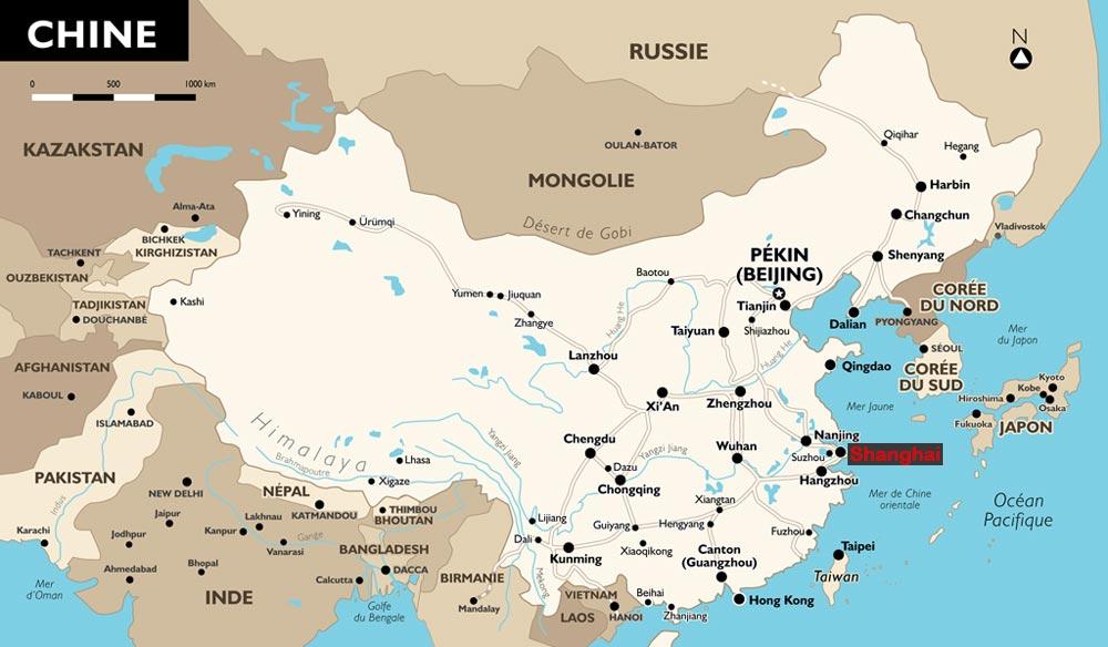 Shanghai - Carte de Chine