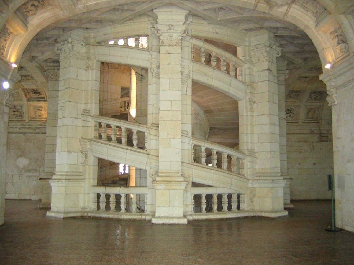 Escalier double rampe du chateau de Chambord