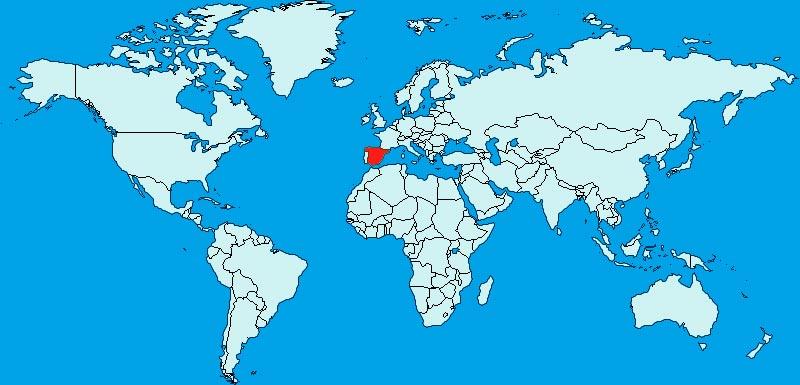 Espagne - Carte du monde