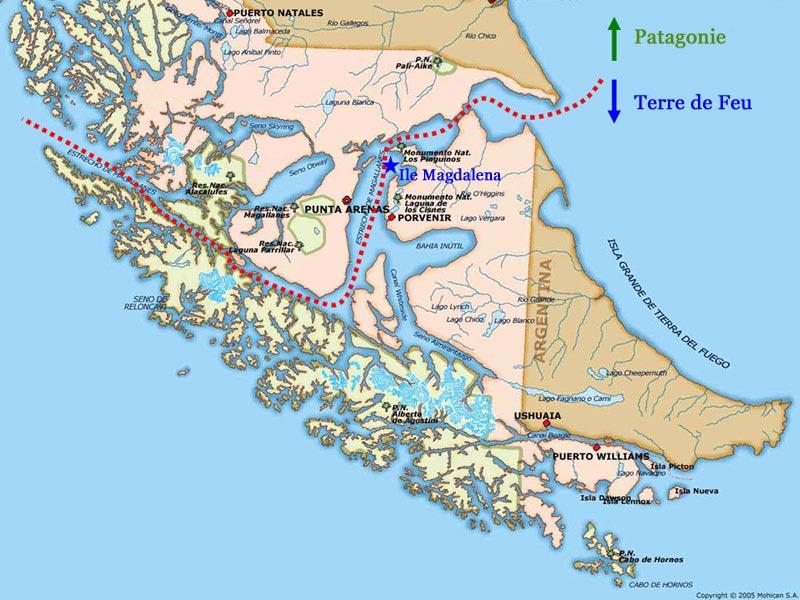 Ushuaia - Carte de la terre de feu