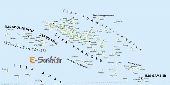 Polynésie Carte des îles