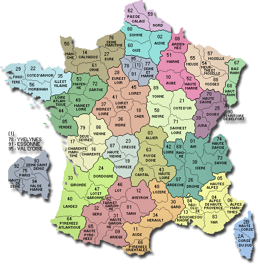 Carte - France départements