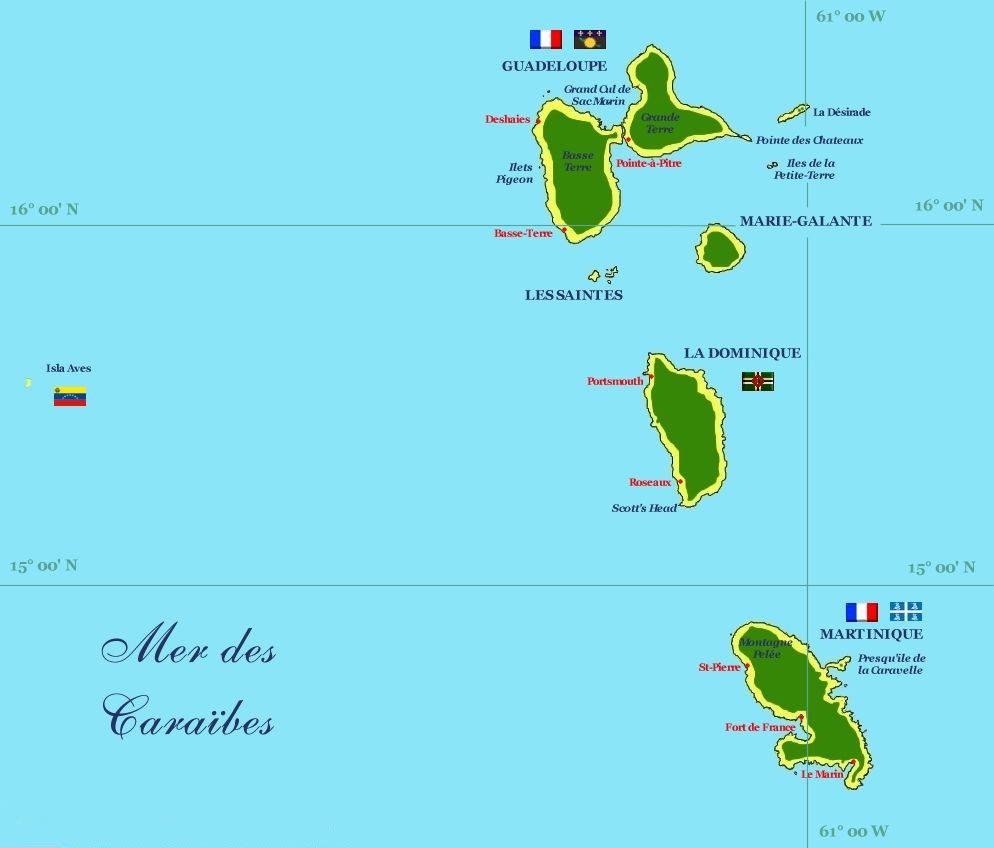 Carte Guadeloupe et Martinique