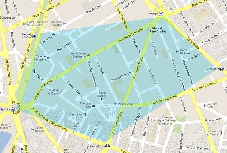 Quartier de Bastille - Plan