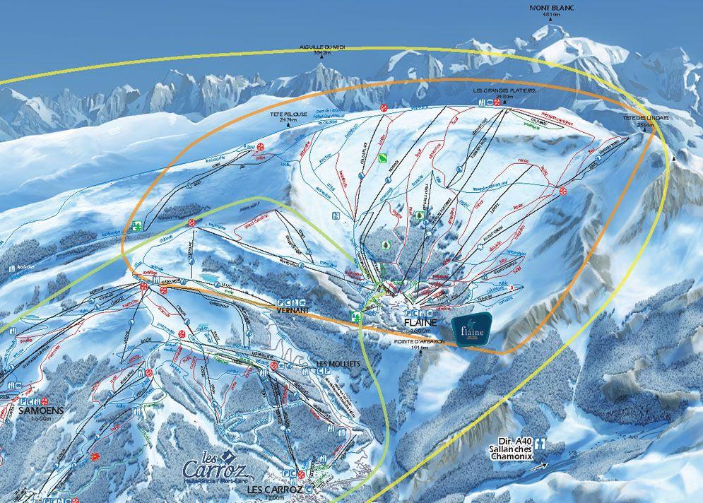 Flaine - Carte des Pistes de Ski