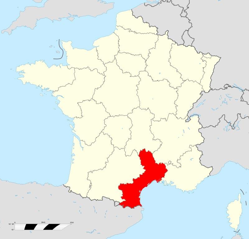 Languedoc Roussillon Carte région