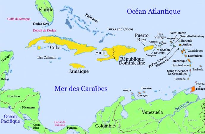 Carte Caraïbes-Antilles