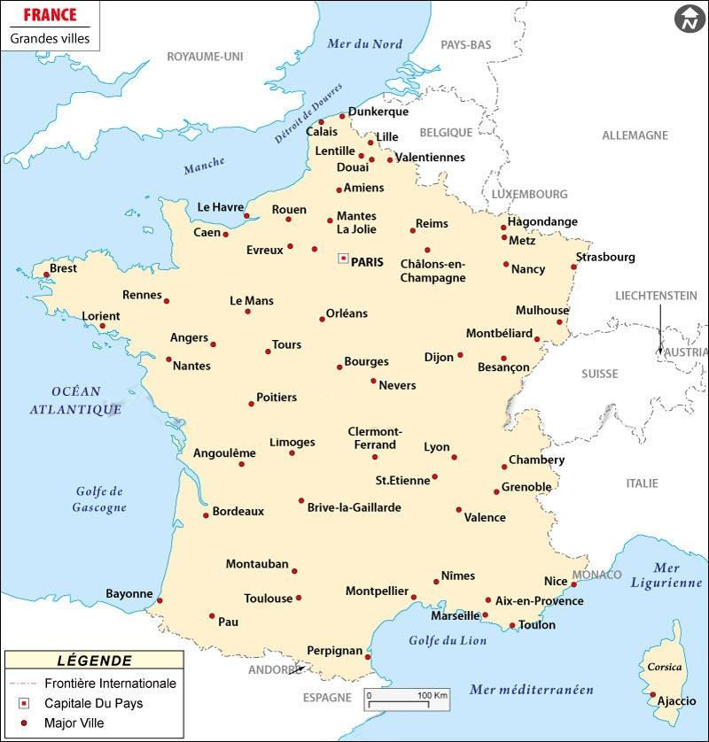 Principales villes de France - Arts et Voyages