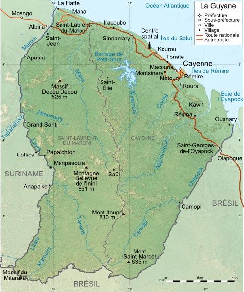 Carte Guyane française