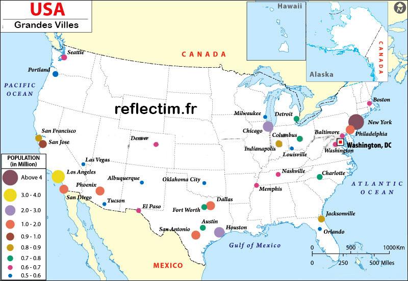Carte - Grandes villes états-unis