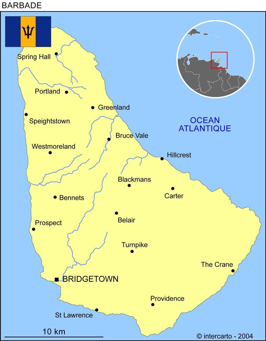 La Barbade - Carte