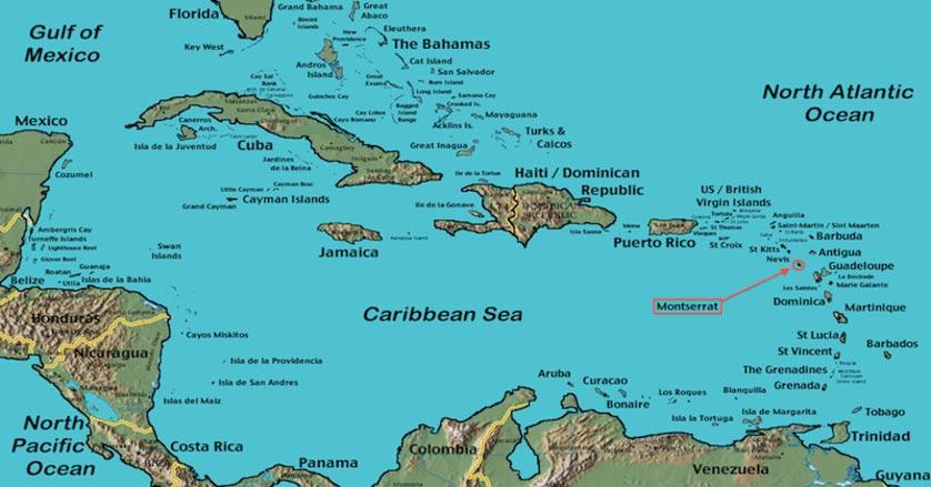 Montserrat - Carte des Antilles