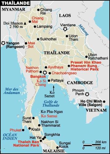 Guide voyage - Carte de Thailande du Sud