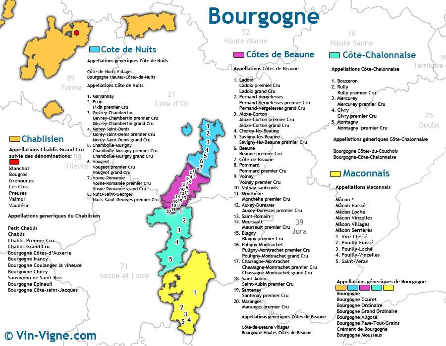 Bourgogne - Carte des Vins