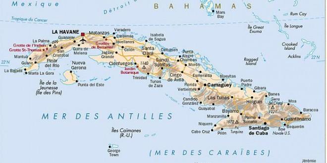 Cuba carte géographique | Arts et Voyages