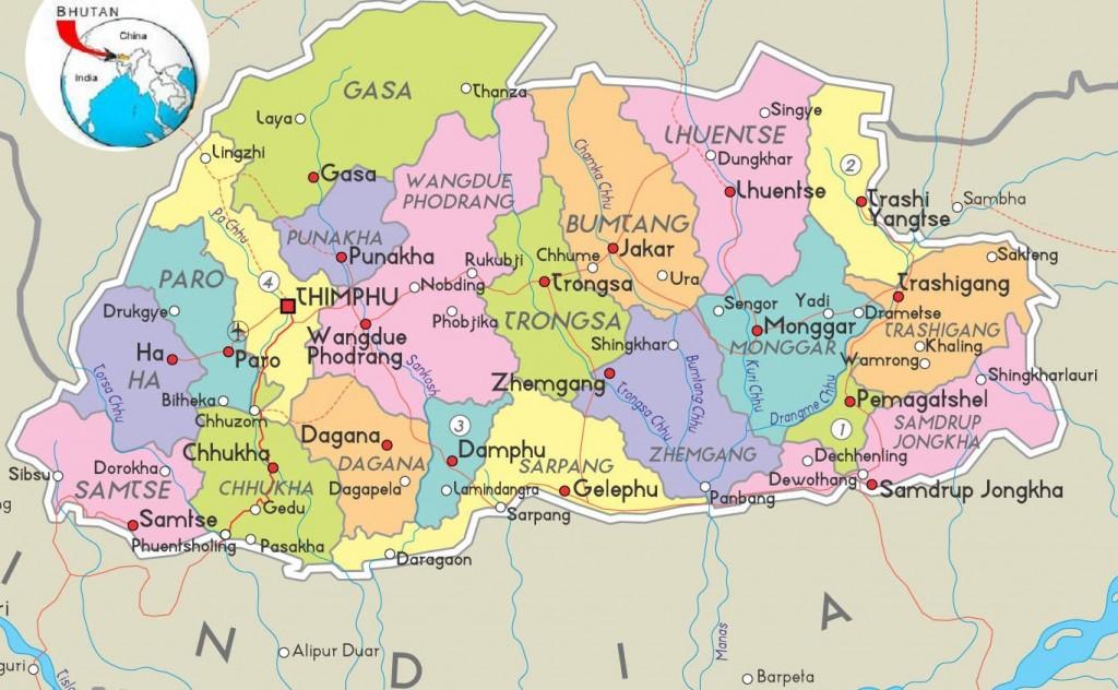 bhoutan - carte géographique