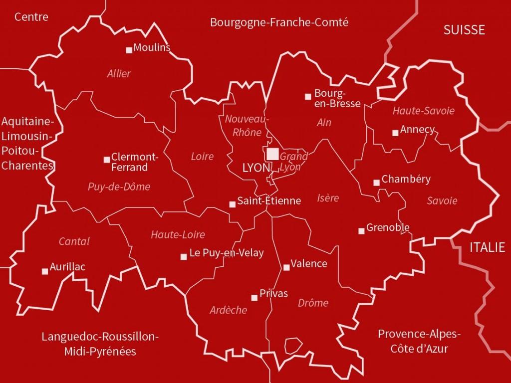 Carte Auvergne-Rhône-Alpes - Villes