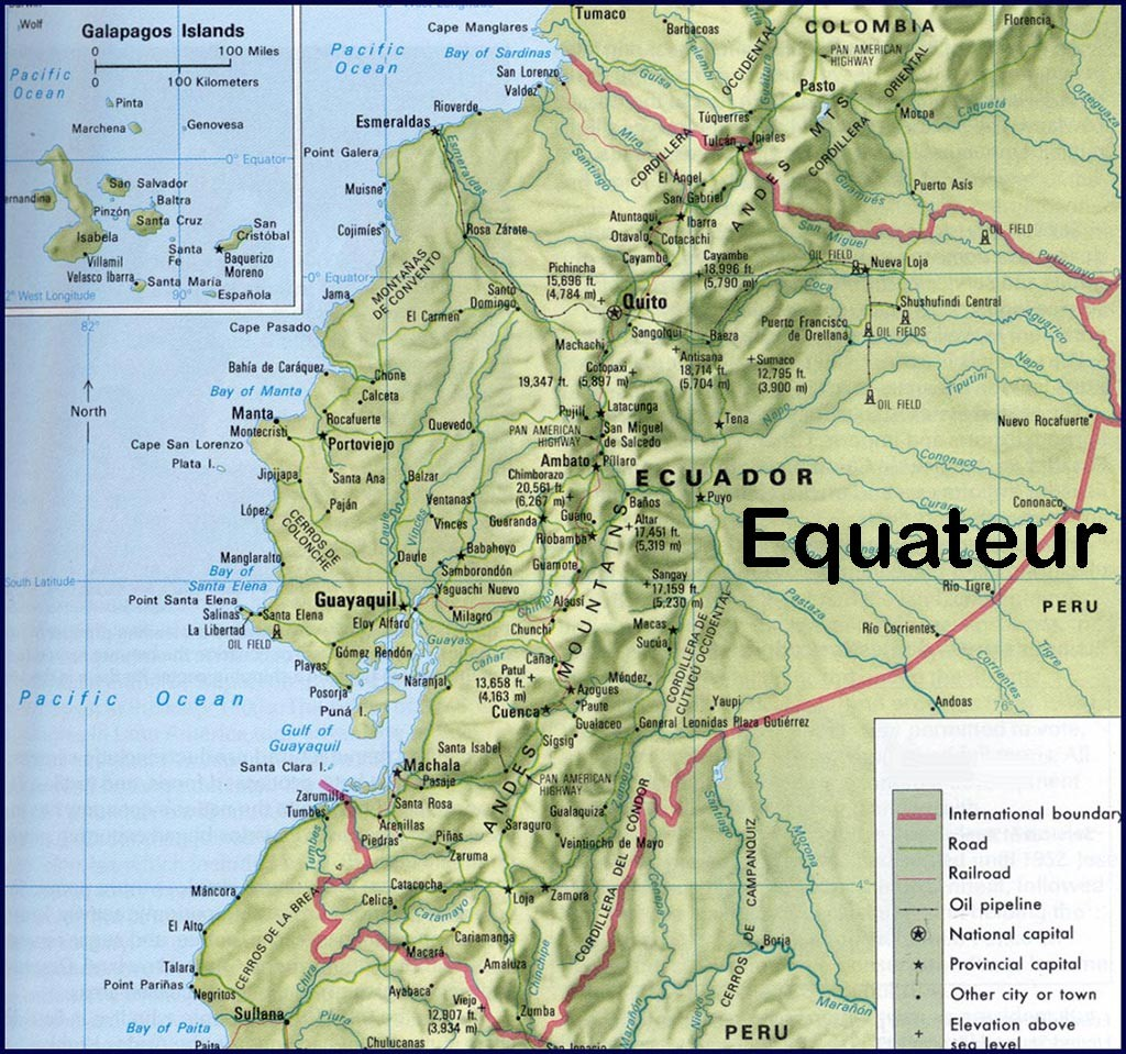 Equateur - Relief et carte géographique