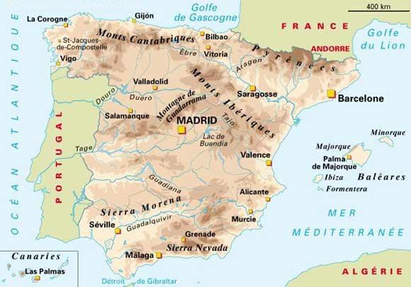 Espagne - Carte de la Sierra nevada