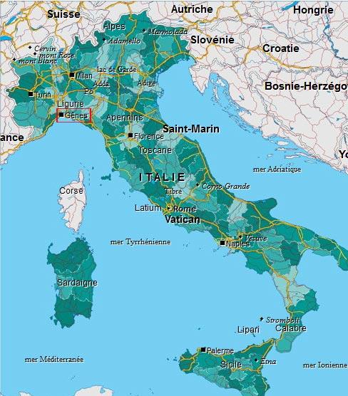 Ville de Gênes - Carte Italie