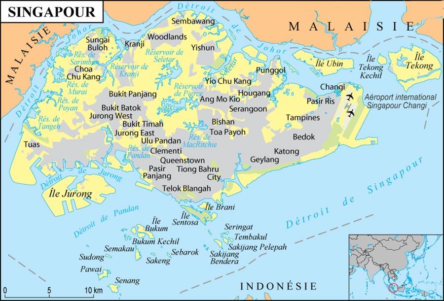 Carte de Singapour