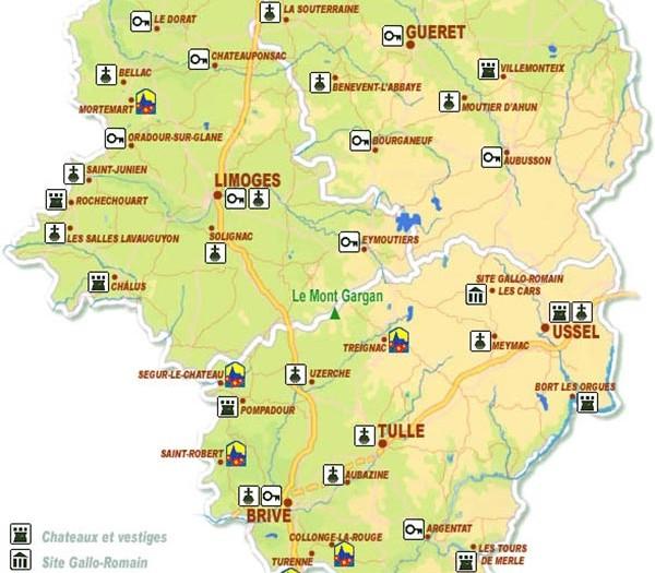 Carte des villes du Limousin