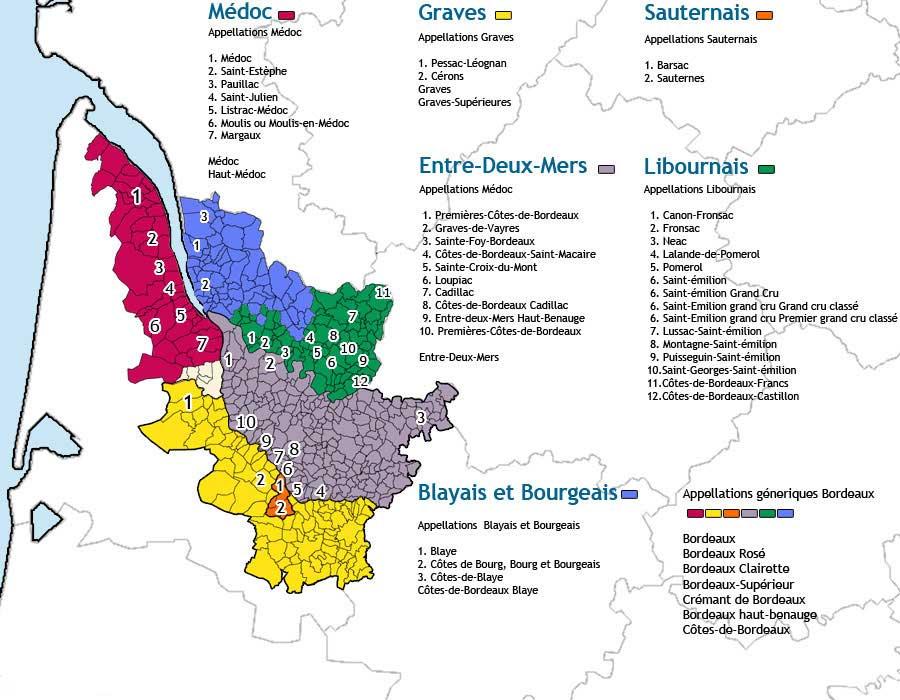 Carte des vins de Bordeaux