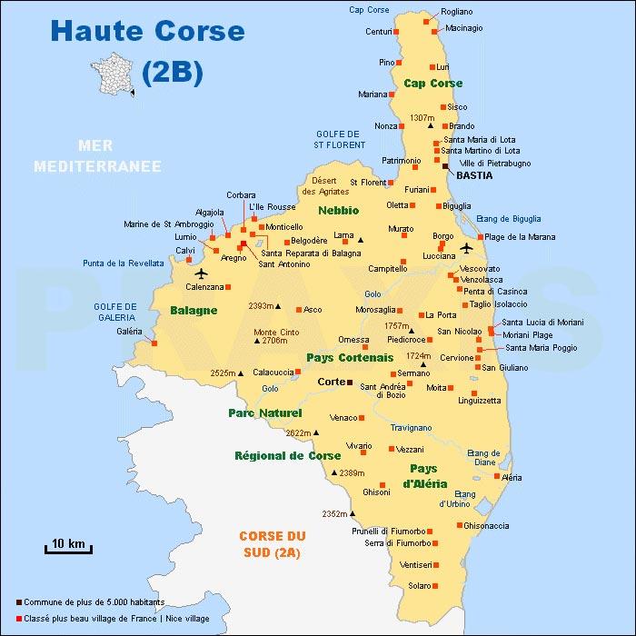 2B - Carte de la Haute-Corse