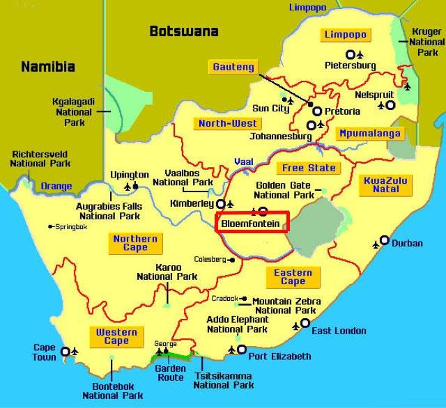 Bloemfontein-carte