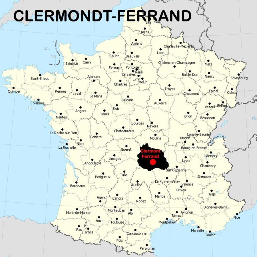 Carte de Clermont Ferrand