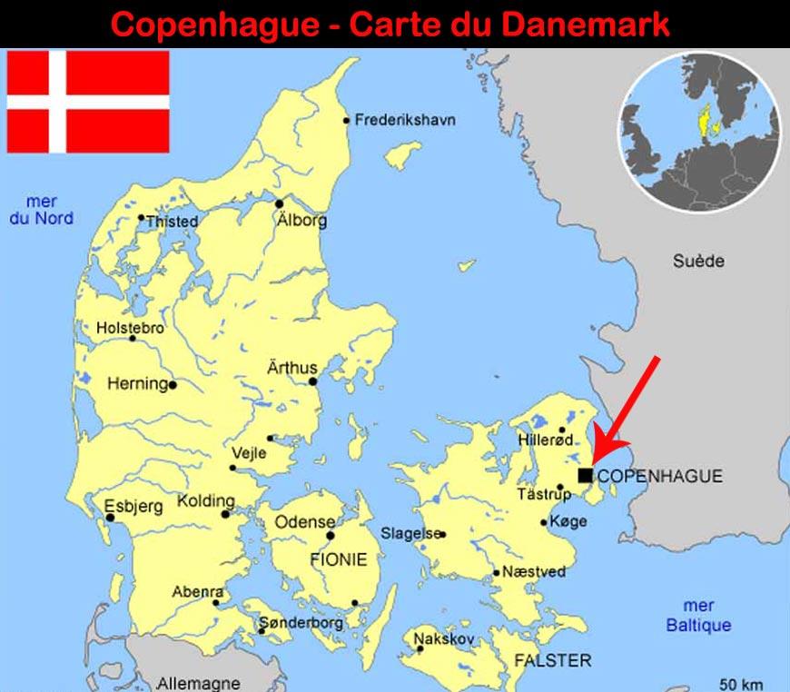 Copenhague - Carte du Danemark