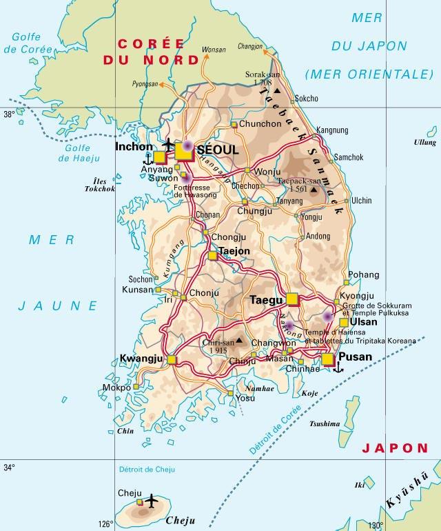 Corée Sud - Carte