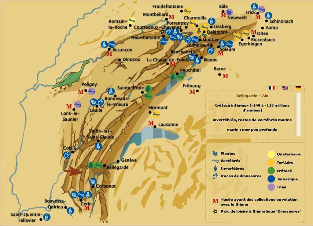 Carte du massif Jura » Vacances - Arts- Guides Voyages