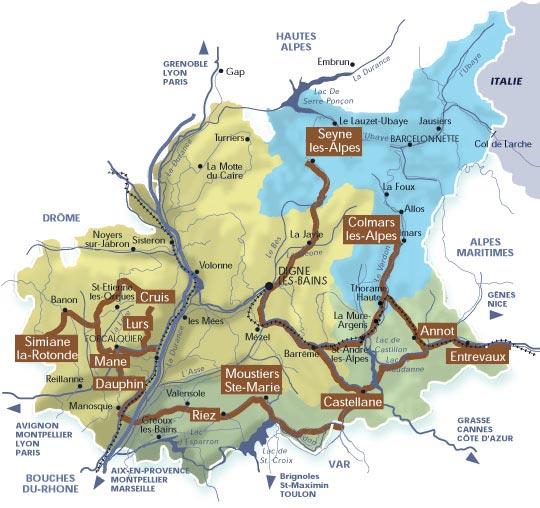 Carte touristique des Alpes