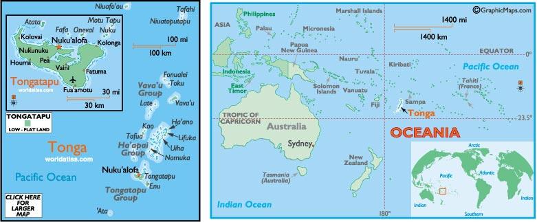 Les Tonga - Carte