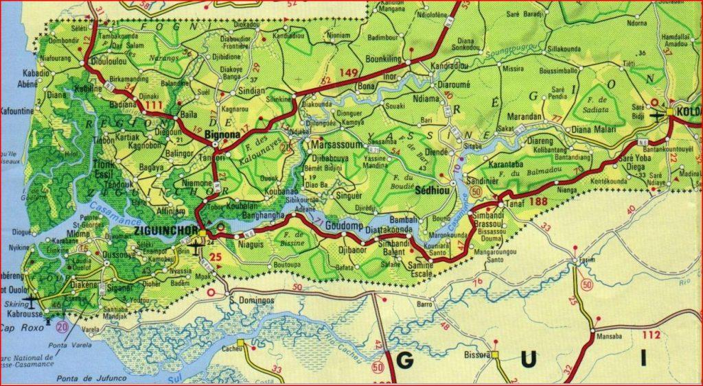 Carte de la Casamance