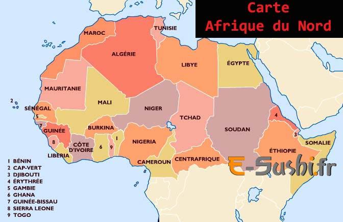 Carte géographique Afrique du Nord