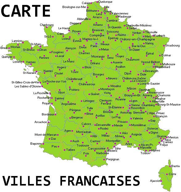 Carte villes françaises