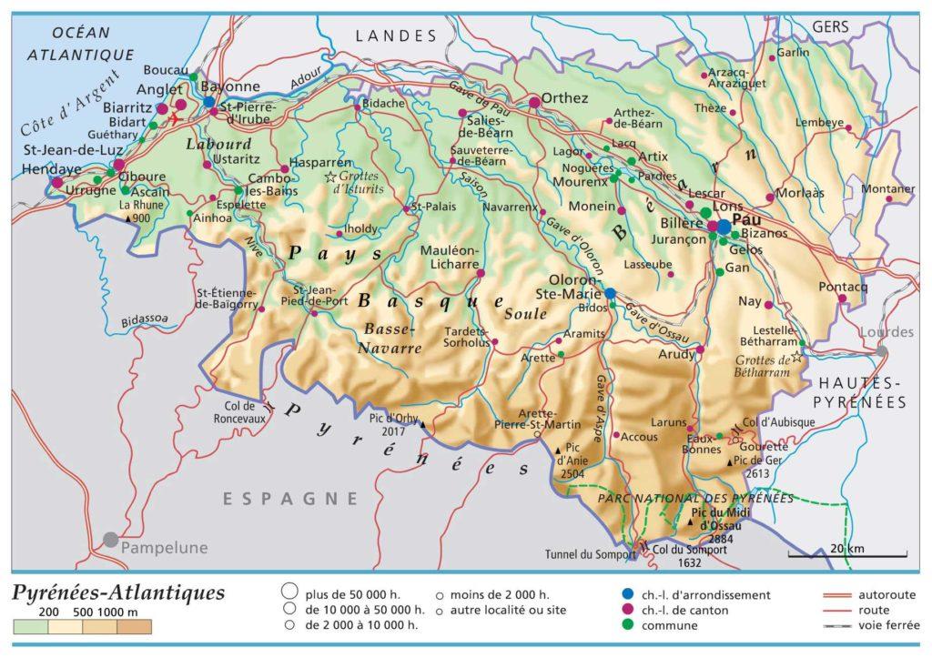 Carte de géographie - Pyrénées-Atlantiques